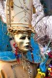 guld- maskering venice för karneval Fotografering för Bildbyråer