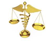 Guld- medicinskt Caduceussymbol som våg framförande 3d Royaltyfria Foton