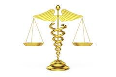 Guld- medicinskt Caduceussymbol som våg framförande 3d royaltyfri illustrationer