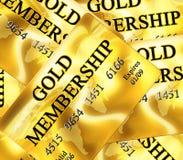 Guld- medlemskapkort Fotografering för Bildbyråer