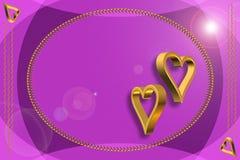 Guld- mellanrum för hjärtor 3D Royaltyfri Fotografi