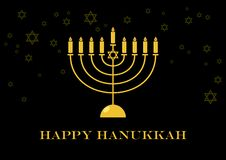 Guld- menoravektor för lycklig Chanukkah vektor illustrationer