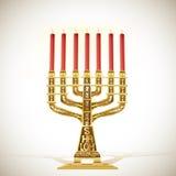 Guld- menoror med sju stearinljus royaltyfri illustrationer