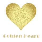 Guld- metallhjärta som isoleras på den vita bakgrunden Arkivbild