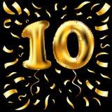 Guld- metallisk ballong för nummer tio 10 ballonger för partigarneringguld Årsdagtecken för lycklig ferie, beröm, födelsedag, royaltyfri illustrationer