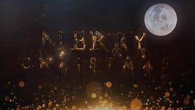 Guld- metallisk glad jul uppstår den Santa Moon 4K öglan royaltyfri illustrationer