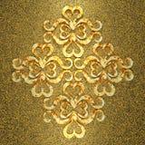 Guld- metallisk prydnad 3d Fotografering för Bildbyråer