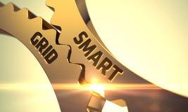 Guld- metalliska kuggekugghjul med smart rasterbegrepp 3d Royaltyfri Bild