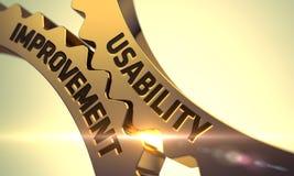 Guld- metalliska kugghjul med användbarhetsförbättringsbegrepp 3d Royaltyfri Foto