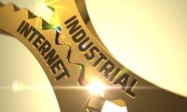 Guld- metalliska kugghjul med industriellt internetbegrepp 3d Royaltyfri Foto