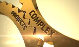 Guld- metalliska kugghjul med komplext projektbegrepp 3d Arkivbild