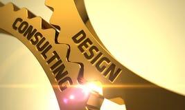 Guld- metalliska kugghjul med konsulterande begrepp för design 3d Fotografering för Bildbyråer