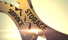 Guld- metalliska kugghjul med lagringsservicebegrepp 3d Arkivbilder