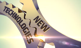 Guld- metalliska kugghjul med ny teknikbegrepp Arkivfoto