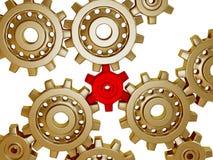 guld- metalliskt för stora kugghjul Arkivfoton