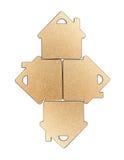 Guld- metalliskt hus format objekt Royaltyfri Bild