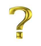 Guld- metalliskt tecken för frågefläck vektor illustrationer