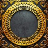 Guld- metallram på svart metall Arkivfoton
