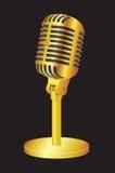 Guld- mikrofon Royaltyfri Fotografi