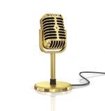 Guld- mikrofon stock illustrationer