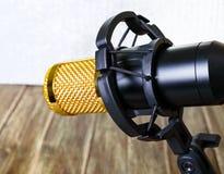 Guld- mikrofon för kondensator ljuset från vänster sida musikaliskt tema royaltyfri bild