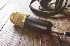 Guld- mikrofon- och hörlurarlögner för kondensator på en trätabell Ljuset från vänster sida royaltyfria bilder