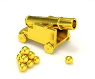 Guld- miniatyrkanoncannonball vektor illustrationer