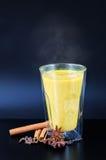 Guld- mjölka med kryddor Fotografering för Bildbyråer
