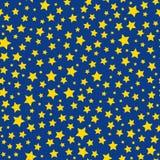 Guld- modell för blå himmel för stjärnor sömlös stock illustrationer