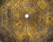 Guld- mosaiker av av baptisteryen av St John Arkivfoto