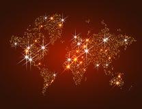 Guld- mousserande världskarta Royaltyfri Foto