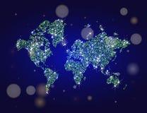Guld- mousserande världskarta Royaltyfria Bilder