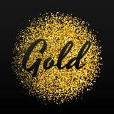 Guld mousserar på svart bakgrund Guld blänker bakgrund Royaltyfri Bild