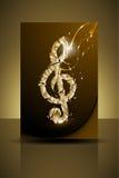 Guld- musikalisk reklambladmall eller företags baner Royaltyfri Fotografi