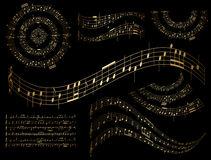 Guld- musikaliska designbeståndsdelar - uppsättning Royaltyfri Foto