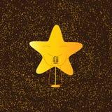 Guld- musikaliskt stjärnatecken Royaltyfria Bilder