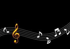guld- musikanmärkning Arkivbild