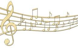 guld- musikanmärkningar vektor illustrationer