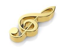 Guld- musikanmärkningssymbol Fotografering för Bildbyråer