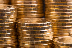Guld- mynt. royaltyfri foto