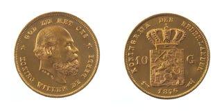 Guld- mynt av den nederländska holländska konungen Willem III Arkivbilder