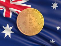Guld- mynt Bitcoin mot bakgrundsflaggan av Australien Symbolisk bild av faktisk valuta vektor illustrationer