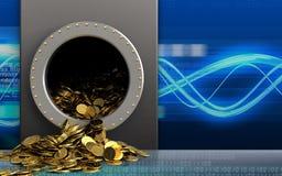 guld- mynt 3d över digitala vågor Fotografering för Bildbyråer