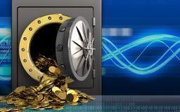 guld- mynt 3d över digitala vågor Royaltyfri Bild