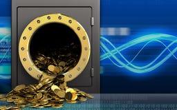 guld- mynt 3d över digitala vågor Arkivbilder