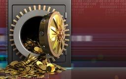 guld- mynt 3d över digitalt rött Arkivbilder