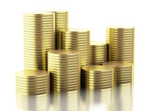 guld- mynt 3d Royaltyfria Bilder