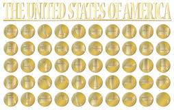 50 guld- mynt för Förenta staterna Arkivbilder