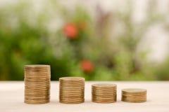 Guld- mynt för pengarbunt med finans för besparing för affärsinvestering Royaltyfria Foton
