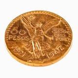 guld- mynt för 50 pesos Arkivbilder